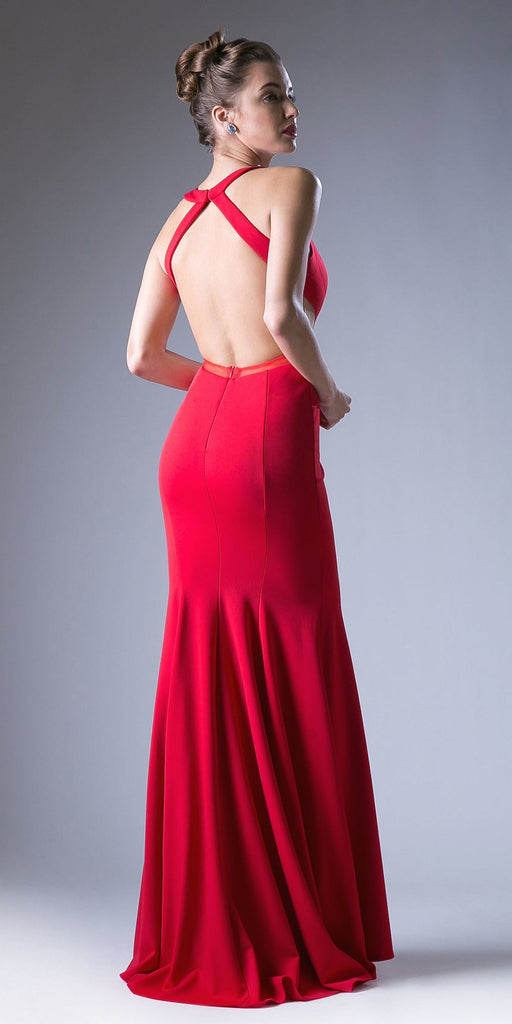 Red Sheer Cut-Out Bodice Open Back Long Prom Dress