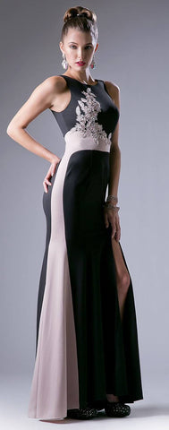 Halter V-Neck Black Long Prom Dress with Slit