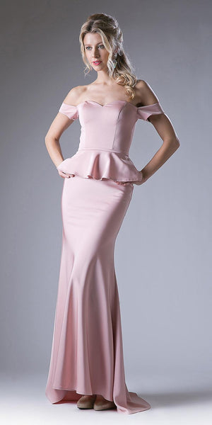 Cinderella Divine CF134 Off the Shoulder Blush Dress Long Peplum Skirt Back Train
