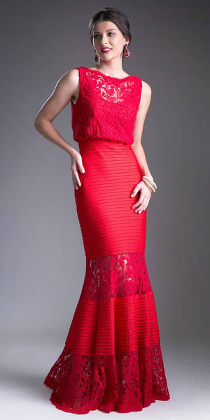 Red Mermaid Fitted Long Formal Dress Appliqued Top Sleeveless