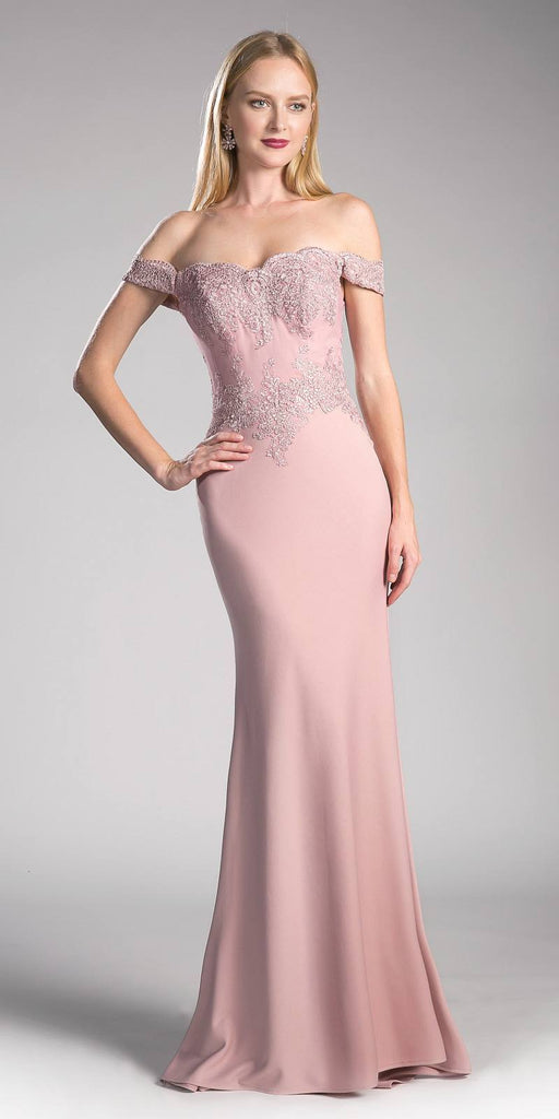 Cinderella Divine CF158 Dusty Rose Off Shoulder Floor Length Evening Gown Applique Bodice