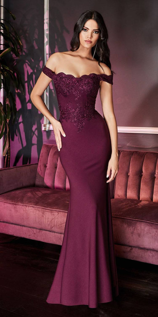 Cinderella Divine CF158 Eggplant Off Shoulder Floor Length Evening Gown Applique Bodice