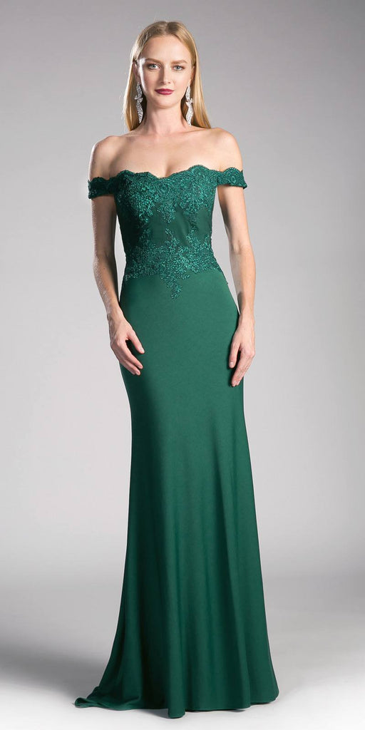 Cinderella Divine CF158 Emerald Green Off Shoulder Floor Length Evening Gown Applique Bodice