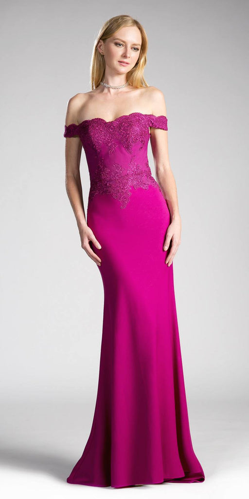 Cinderella Divine CF158 Magenta Off Shoulder Floor Length Evening Gown Applique Bodice