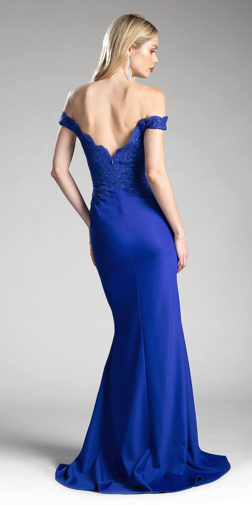 Cinderella Divine CF158 Royal Blue Off Shoulder Floor Length Evening Gown Applique Bodice Back View