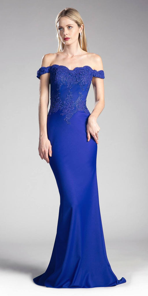 Cinderella Divine CF158 Royal Blue Off Shoulder Floor Length Evening Gown Applique Bodice