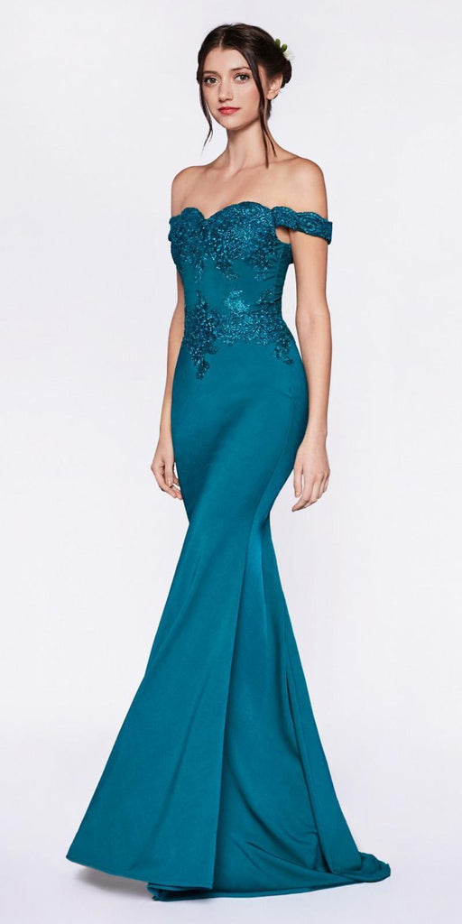 Cinderella Divine CF158 Teal Off Shoulder Floor Length Evening Gown Applique Bodice