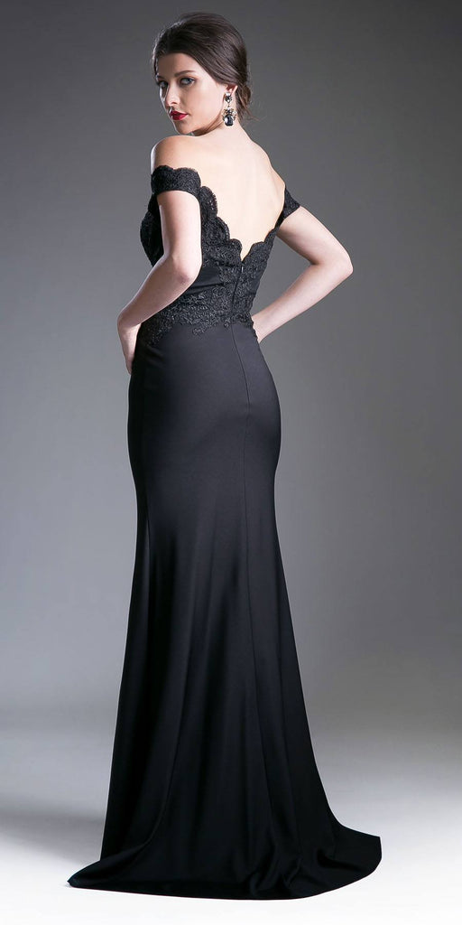 Cinderella Divine CF158 Black Off Shoulder Floor Length Evening Gown Applique Bodice Back View