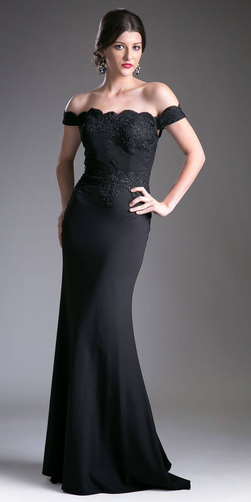 Cinderella Divine CF158 Black Off Shoulder Floor Length Evening Gown Applique Bodice
