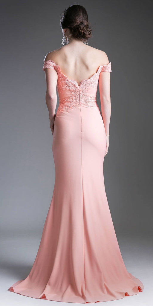 Cinderella Divine CF158 Peach Off Shoulder Floor Length Evening Gown Applique Bodice Back View