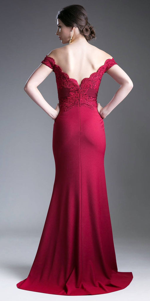 Cinderella Divine CF158 Burgundy Off Shoulder Floor Length Evening Gown Applique Bodice Back View