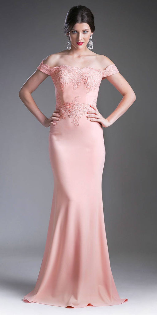Cinderella Divine CF158 Peach Off Shoulder Floor Length Evening Gown Applique Bodice