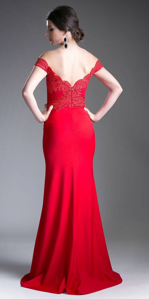Cinderella Divine CF158 Red Off Shoulder Floor Length Evening Gown Applique Bodice Back View