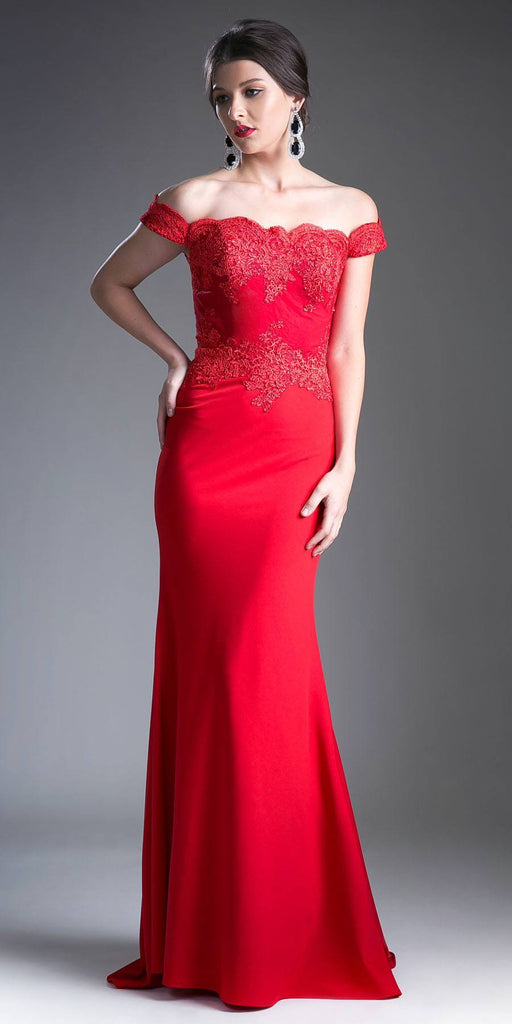 Cinderella Divine CF158 Red Off Shoulder Floor Length Evening Gown Applique Bodice