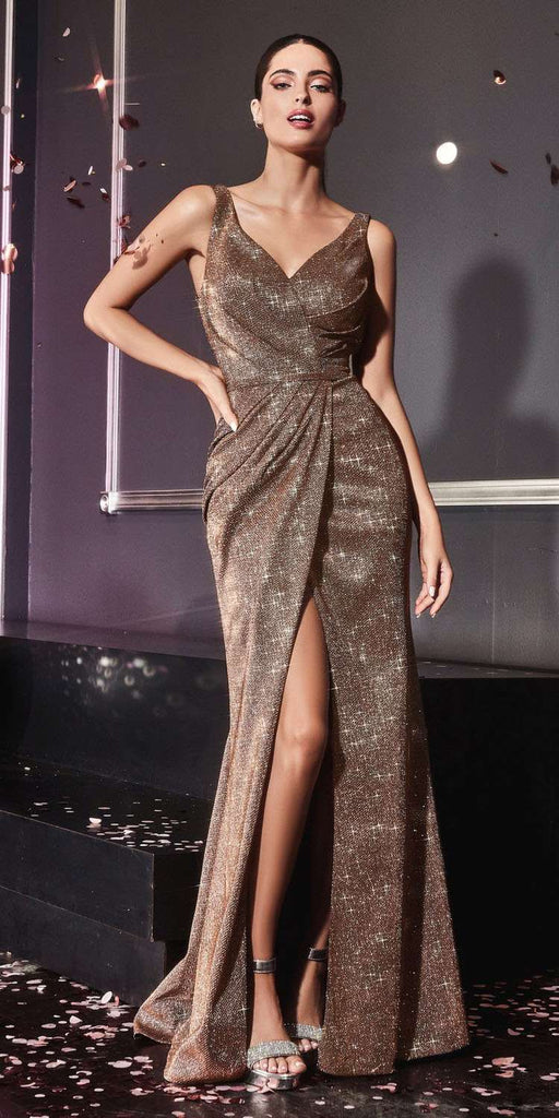 Floor Length Sheath Metallic Gown Copper Pleated Waistline Leg Slit