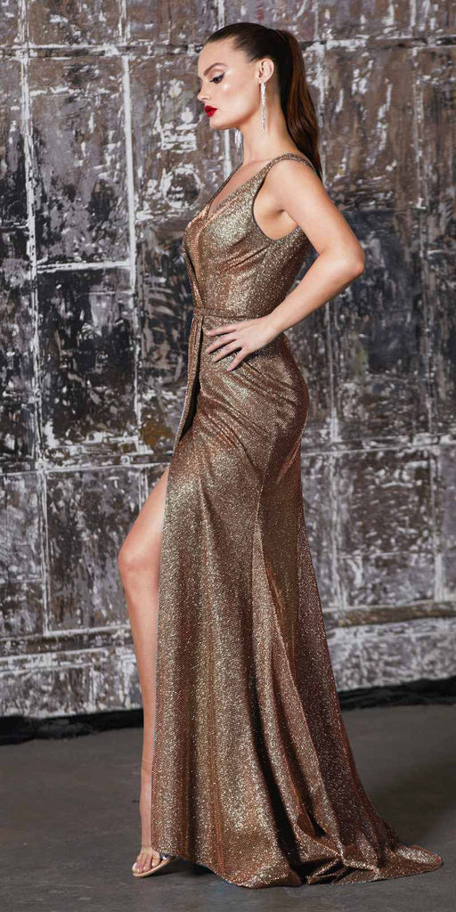 Cinderella Divine CF165 Floor Length Sheath Metallic Gown Copper Pleated Waistline Leg Slit