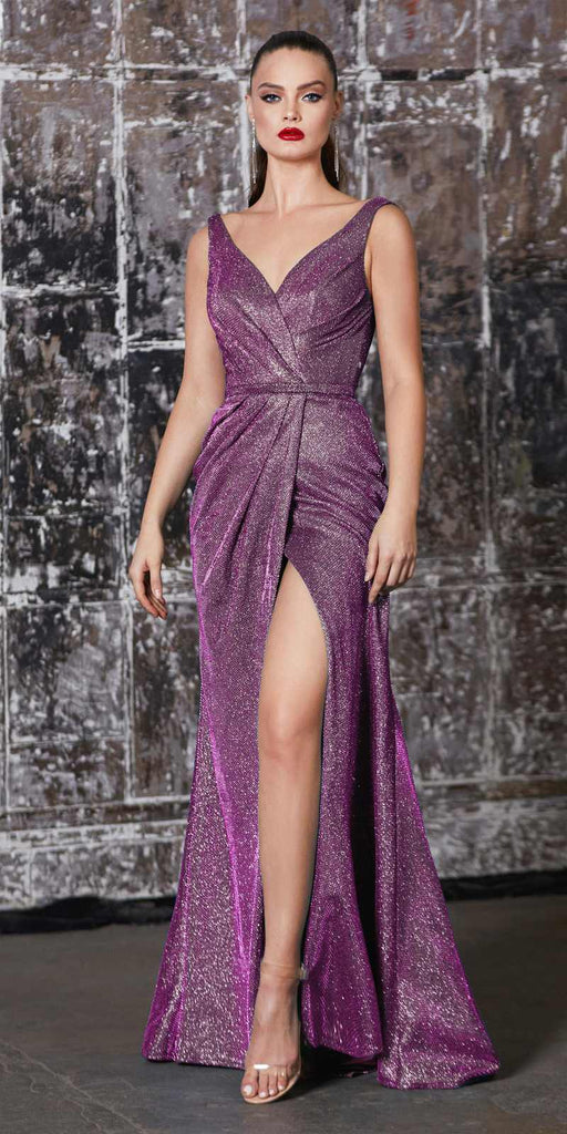 Cinderella Divine CF165 Floor Length Sheath Metallic Gown Mulberry Pleated Waistline Leg Slit