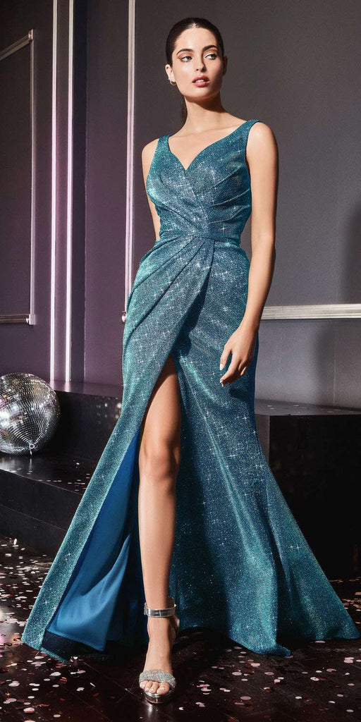 Floor Length Sheath Metallic Gown Teal Pleated Waistline Leg Slit