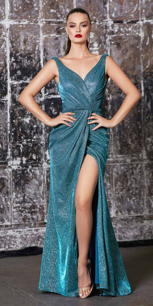Cinderella Divine CF165 Floor Length Sheath Metallic Gown Teal Pleated Waistline Leg Slit