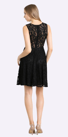 Cinderella Divine CF175 Short Lace Cocktail Dress Mock Empire Waistline Sleeveless