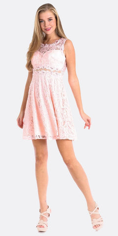 Cinderella Divine CF175 Short Lace Cocktail Dress Blush Mock Empire Waistline Sleeveless