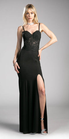 Lace Bodice Spaghetti Strap Long Formal Dress with Slit Black