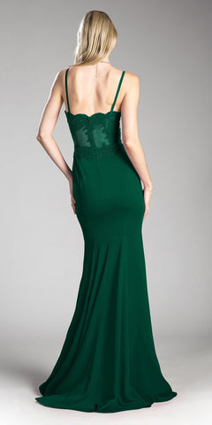 Cinderella Divine CF266 Lace Bodice Spaghetti Strap Long Formal Dress With Slit Hunter Green Back View