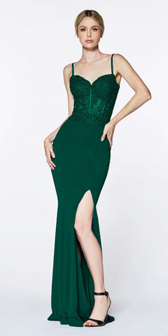 Cinderella Divine CF266 Lace Bodice Spaghetti Strap Long Formal Dress With Slit Hunter Green