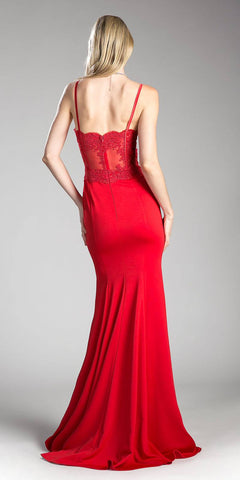 Lace Bodice Spaghetti Strap Long Formal Dress with Slit Red