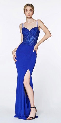 Cinderella Divine CF266 Lace Bodice Spaghetti Strap Long Formal Dress With Back Slit Royal Blue