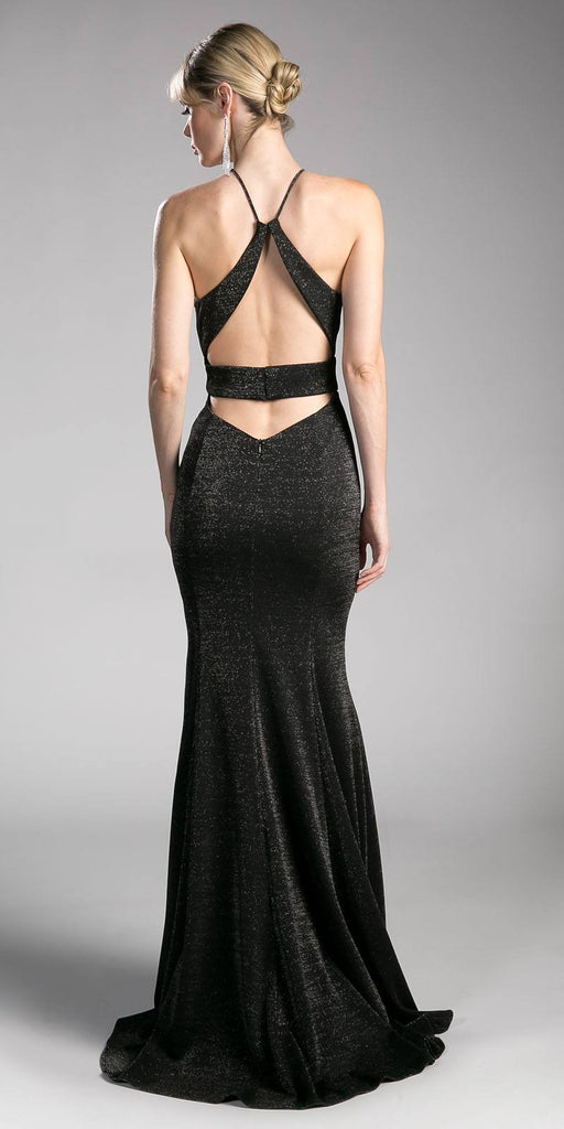 Black Long Prom Dress Halter Cut Out Back with Slit