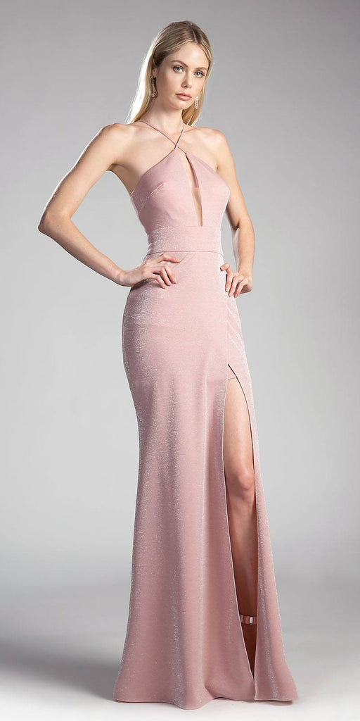 Dusty Rose Long Prom Dress Halter Cut Out Back with Slit