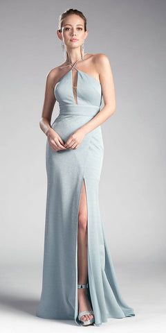 Ice Blue Long Prom Dress Keyhole Bodice Cut Out Back