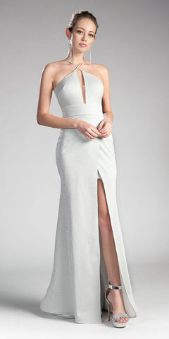 Long Beaded Halter A-Line White Dress Flowy Charmeuse Skirt Leg Slit