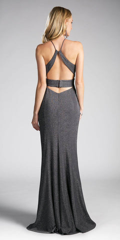 Charcoal Cut Out Bodice and Back Long Prom Dress