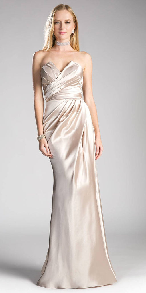 Strapless Long Formal Dress Lace Up Back Champagne