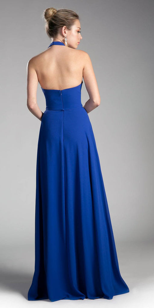Royal Blue Halter Sweetheart Neckline Long Formal Dress