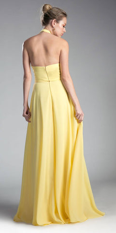 Yellow Halter Sweetheart Neckline Long Formal Dress