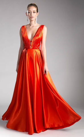 Orange Long Formal Dress Plunging V-Neck Pleated Bodice