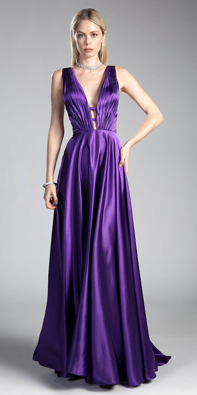 1e9e7b53cc Purple Long Formal Dress Plunging V-Neck Pleated Bodice. Tap to expand