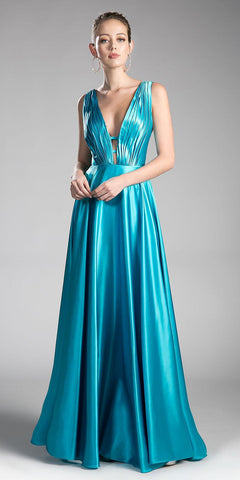 Turquoise Long Formal Dress Plunging V-Neck Pleated Bodice