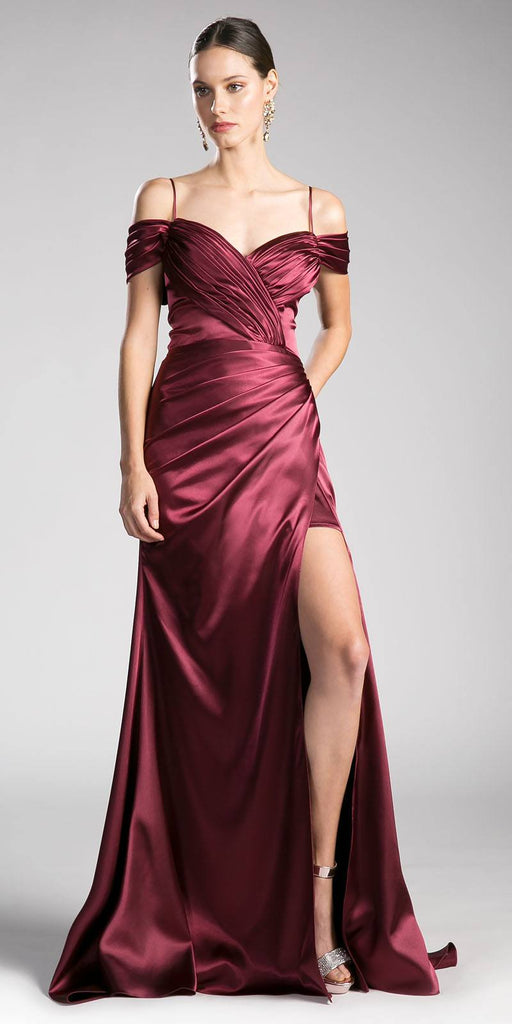 Burgundy Off-the-Shoulder Plus Size Long Formal Dress
