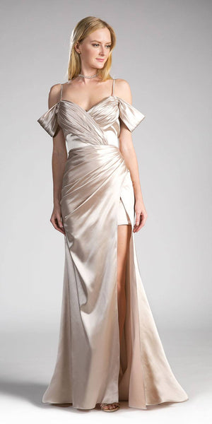 Champagne Off-the-Shoulder Plus Size Long Formal Dress