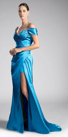 Turquoise Off-the-Shoulder Plus Size Long Formal Dress