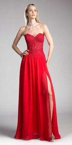 Red Strapless Sweetheart Long Formal Dress Embroidered