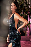 Cinderella Divine CF318 Long Fitted Sheath Sequin Gown Black Illusion Sides Deep Plunging Neckline