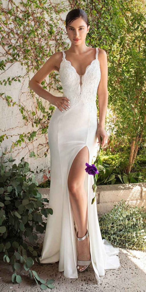 Cinderella Divine CF319 Plunging V-Neck off White Mermaid Long Prom Dress