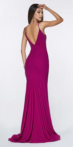Cinderella Divine CF329 Long Fitted Ruched Mermaid Dress Purple Deep Plunging Neckline