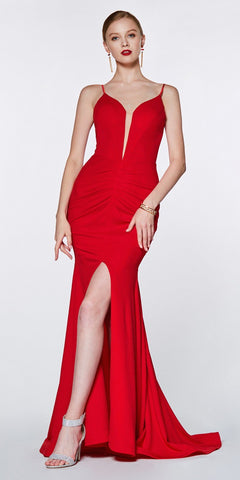 Cinderella Divine CF329 Long Fitted Ruched Mermaid Dress Red Deep Plunging Neckline