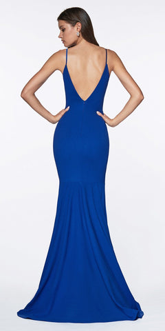 Cinderella Divine CF329 Long Fitted Ruched Mermaid Dress Royal Blue Deep Plunging Neckline